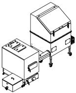 06652965 Automatyczny zestaw do spalania biomasy 1m3 230V 60kW, głowica: żeliwna, z systemem usuwania popiołu (paliwo: trociny, wióry, zrębki, kora, brykiet, agrobrykiet, pellet, pestki owoców)
