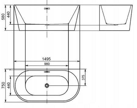 Garto Akrylowa wanna przyścienna (wymiary: 150x75 cm) 10076019
