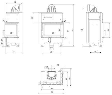 KONS Wkład kominkowy 10kW MBM BS (prawa boczna szyba bez szprosa) - spełnia anty-smogowy EkoProjekt 30046774