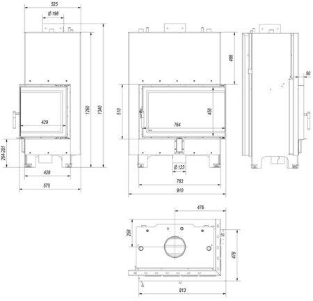 KONS Wkład kominkowy 15kW MBO PW BS z płaszczem wodnym, wężownicą (prawa boczna szyba bez szprosa) - spełnia anty-smogowy EkoProjekt 30066820