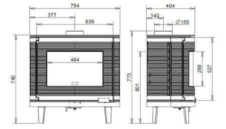 Piec wolnostojący Invicta 9kW Kaori (wylot spalin: góra lub z tyłu, kolor: antracyt) - spełnia anty-smogowy EkoProjekt 86865689