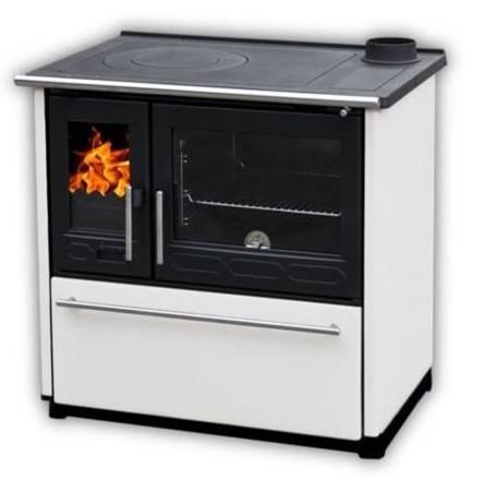 TOPSTOVE Kuchnia stalowo żeliwna z piekarnikiem 8kW, bez płaszcza wodnego (wylot spalin: 120mm, kolor: biały) 58477289